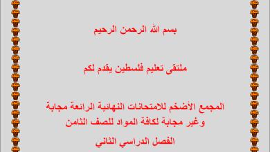 Photo of المجمع الأضخم لامتحانات نهاية الفصل الثاني مجابة وغير مجابة لكافة المواد ثامن