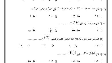 صورة امتحان حكومة حصري ومصور لنهاية الفصل الثاني لمبحث الرياضيات ثامن الجديد 3