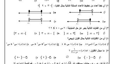صورة امتحان حكومة مصور لنهاية الفصل الثاني لمبحث الرياضيات للصف التاسع 2