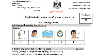 Photo of امتحانات حكومة مجابة وغير مجابة لنهاية الفصل الثاني لمبحث اللغة الإنجليزية سادس