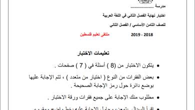 Photo of امتحان حكومة حصري ورائع لنهاية الفصل الثاني لمبحث اللغة العربية للصف الثامن