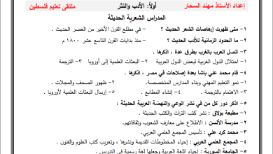 صورة مراجعة ما قبل امتحان الإنجاز الورقة الثانية لمبحث اللغة العربية للتوجيهي أدبي