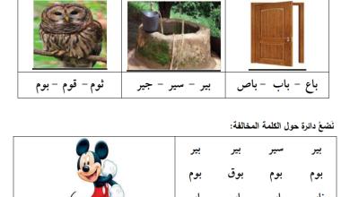 صورة أوراق عمل رائعة لحرف الباء لمبحث اللغة العربية للصف الأول الفصل الأول