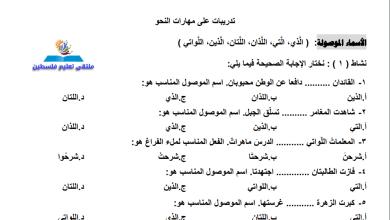 صورة أوراق عمل رائعة وهامة جدا لدروس قواعد اللغة العربية الصف الرابع الفصل الأول