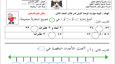 صورة نموذج امتحان حصري ورائع للوحدة الأولى لمبحث رياضيات الصف الثاني الفصل الأول