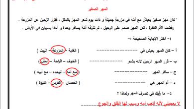 Photo of أوراق عمل رائعة ومجابة لدرس المهر الصغير لمبحث اللغة العربية للصف الثالث