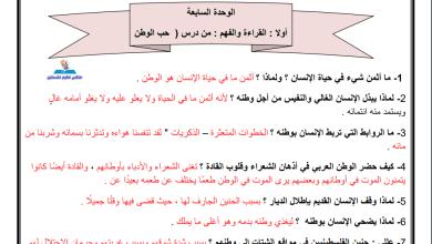 Photo of أوراق عمل رائعة ومجابة للوحدة السابعة لمبحث اللغة العربية سادس الفصل الأول