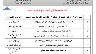 Photo of أسئلة حدد الشخصية التي تتحدث عنها العبارة مع الإجابة للتربية الإسلامية للتوجيهي