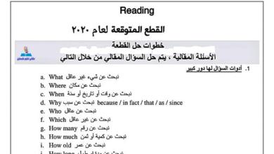 Photo of القطع المتوقعة لامتحان الورقة الأولى للغة الإنجليزية مع أسئلة مجابة وهامة جدا للتوجيهي