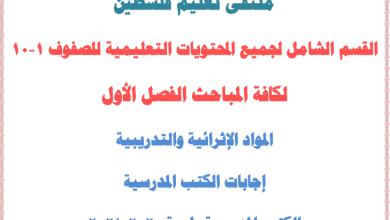 صورة القسم الشامل لجميع المحتويات التعليمية ولكافة المباحث للصفوف 1-10 الفصل الأول