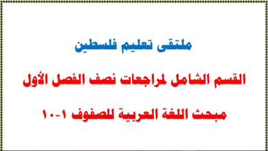 صورة القسم الشامل لمراجعات نصف الفصل الأول لمبحث اللغة العربية للصفوف 1-10