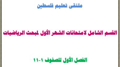 صورة القسم الشامل لامتحانات الشهر الأول لمبحث الرياضيات للصفوف 1-11 الفصل الأول