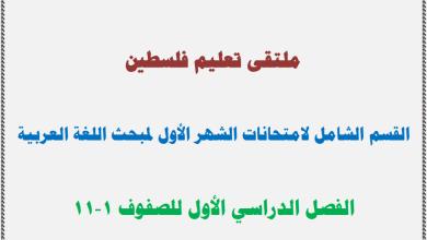 صورة القسم الشامل لامتحانات الشهر الأول لمبحث اللغة العربية للصفوف 1-11 الفصل الأول