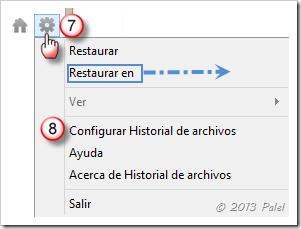 Opciones del Historial de archivos