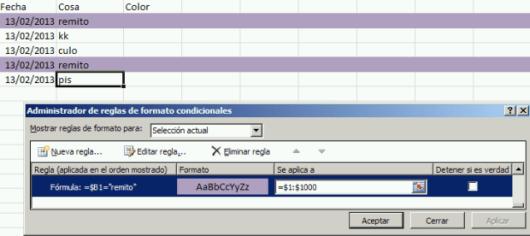 """Ejemplo Formato Condicional creado por """"La Evas"""""""