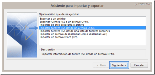Fuentes RSS en Outlook 8