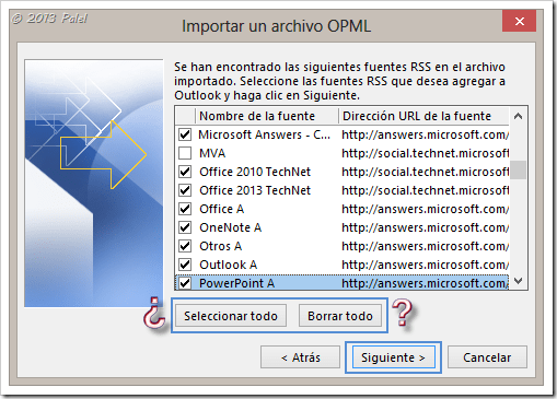 Fuentes RSS en Outlook 10