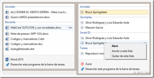 Lista de archivos recientes en aplicacions ancladas