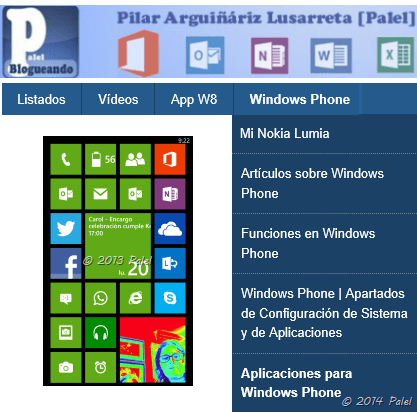 Sección Windows Phone en el blog