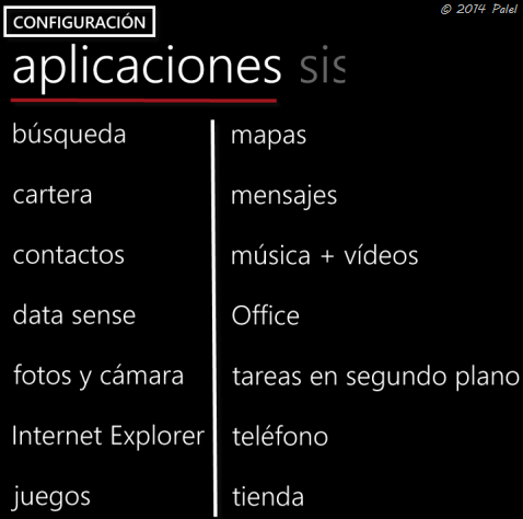 Windows Phone  - Configuración - Aplicaciones