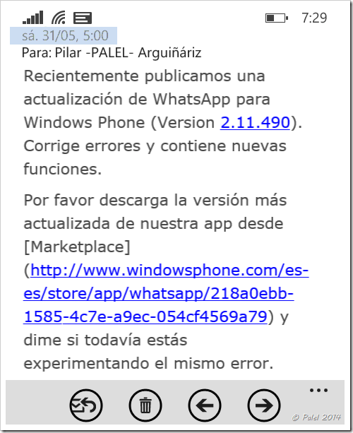 WhatsApp disponible - Palel.es