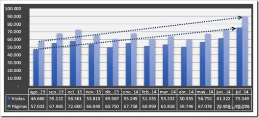 Gráfico de visitas y páginas vistas en 1 año