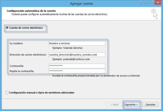 Datos para configurar una cuenta con el asistente