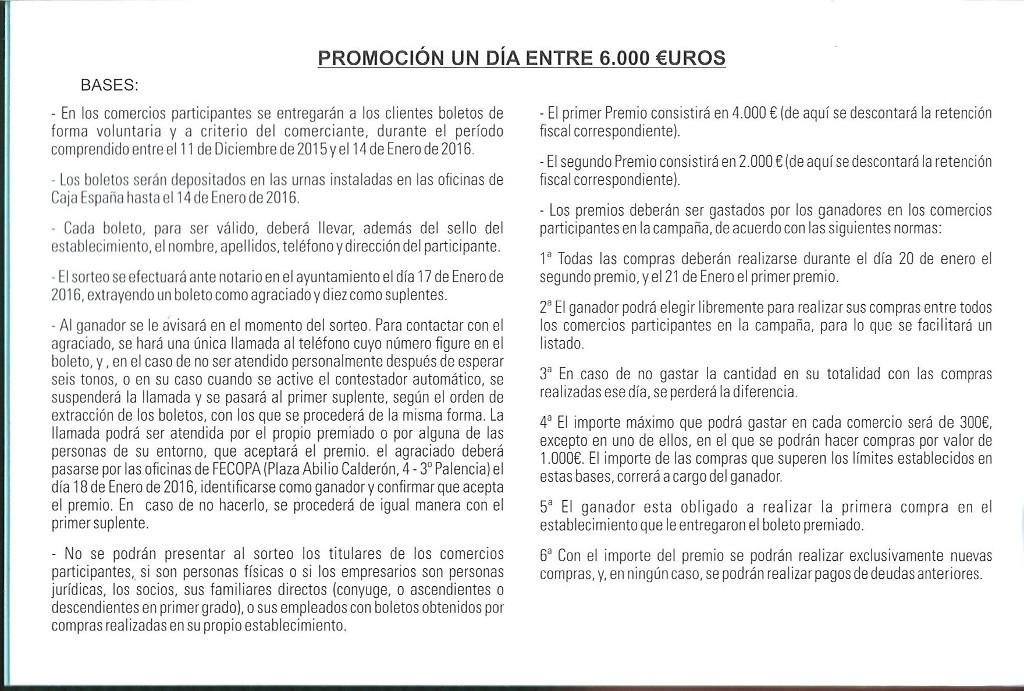 Bases  1 día entre 6000€ – 2015