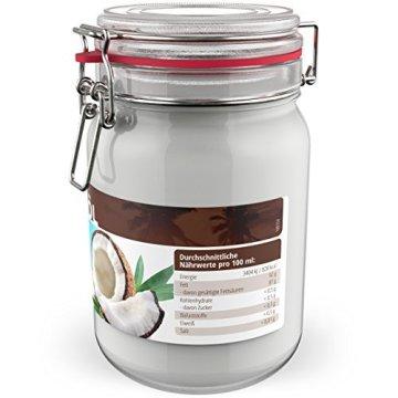 BIO Kokosöl - 1 x 1.000 mL (1L) Neu im Bügelglas - KOCHEN, BRATEN, BACKEN + HAAR- & HAUTPFLEGE bio, nativ, kaltgepresst - 2