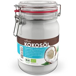 BIO Kokosöl - 1 x 1.000 mL (1L) Neu im Bügelglas - KOCHEN, BRATEN, BACKEN + HAAR- & HAUTPFLEGE bio, nativ, kaltgepresst - 1