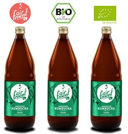 Bio-Kombucha Tee Getränk (3x1 Liter / unpasteurisiert / Grüner Tee / Fermentiert von Fairment®) … - 1
