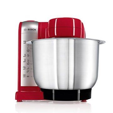 Bosch MUM48R1 Küchenmaschine MUM4 (600 Watt, 3.9 Liter, Edelstahl-Rührschüssel, Durchlaufschnitzler, Rezept DVD) rot - 2