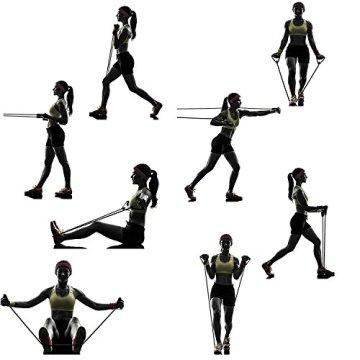 CUXUS Resistance Bands Widerstandsband Set- 5 Widerstandsbänder aus Latex, Griffe,Türanker & Fußschlaufen- Gymnastikband Trainingsbänder Fitnessbänder Expander für Ganz-Körper-Workout Yoga Pilates - 6