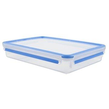 Emsa 508545 Rechteckige Frischhaltedose mit Deckel, 2.6 Liter, Transparent/Blau, Clip & Close - 2