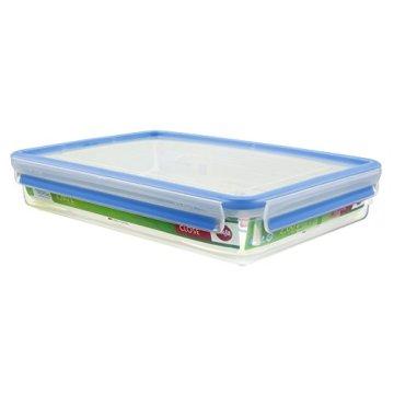 Emsa 508545 Rechteckige Frischhaltedose mit Deckel, 2.6 Liter, Transparent/Blau, Clip & Close - 1