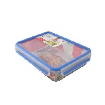 Emsa 513920 Frischhaltedose mit Deckel, Glas, Rechteckig, Volumen 1,3 Liter, Transparent/Rot, Clip & Close - 4