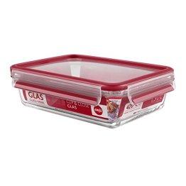 Emsa 513920 Frischhaltedose mit Deckel, Glas, Rechteckig, Volumen 1,3 Liter, Transparent/Rot, Clip & Close - 1