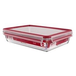Emsa 513922 Frischhaltedose mit Deckel, Glas, Rechteckig, Volumen 3 Liter, Transparent/Rot, Clip & Close - 1