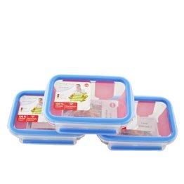 EMSA 514170 Frischhaltedose CLIP & CLOSE Glas 3er Set, 3x 0,50 Liter (100% dicht, gefriergeeignet, mikrowellengeeignet, BPA frei, Made in Germany) - 1