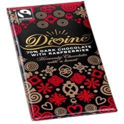 Fairtrade Divine Dark Chocolate with Raspberry / Zartbitter mit Himbeere 100gr. - 1