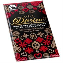 Fairtrade Divine Dark Chocolate with Raspberry / Zartbitter mit Himbeere 100gr. - 1