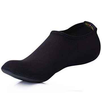 JACKSHIBO Herren Damen Barfuß Wasser Schuhe Unisex Aqua Shoes für Strand Schwimmen Surf Yoga Jungen Mädchen,Schwarz,Erwachsene XL - 1