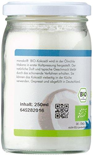 Manako Bio Kokosöl Kokosfett kaltgepresst GLAS, 1er Pack (1 x 250 ml) - 3