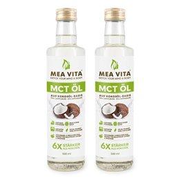 MeaVita MCT Öl, 100% reine Premium Qualität, 1 Liter Extrakt aus der Kokosnuss, Geschmacksneutral (2x 500ml) Low Carb - 1