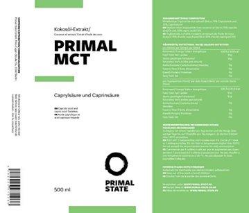 PRIMAL MCT Öl in Glasflasche | Extrakt aus Kokosöl | Geschmacksneutral | Caprylsäure (C-8) und Caprinsäure (C-10) | Bulletproof Coffee | MCT Oil - 500ml - 2