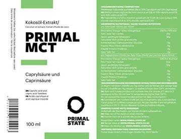 PRIMAL MCT Öl in Glasflasche | Extrakt aus Kokosöl | Geschmacksneutral | Caprylsäure (C-8) und Caprinsäure (C-10) | Bulletproof Coffee | MCT Oil - 100ml - 2