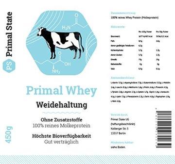 PRIMAL WHEY Protein (100% reines Molkeprotein von Weidetieren) - 453g - 2