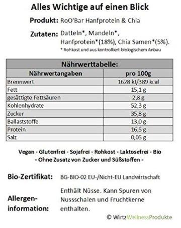 ROO'BAR Hanfprotein & Chia - 16 Stück (16x 50g) - Rohkost-Riegel mit Superfoods (bio, vegan, glutenfrei, roh) - 3