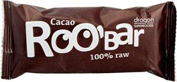 ROO'BAR Kakao & Cashew (ohne Nibs) - 16 Stück (16x 50g) - Rohkost-Riegel mit Superfoods (bio, vegan, glutenfrei, roh) - 2
