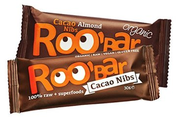 ROO'BAR Kakao-Nibs & Mandeln - 20 Stück (20x 30g) - Rohkost-Riegel mit Superfoods (bio, vegan, glutenfrei, roh) - 2